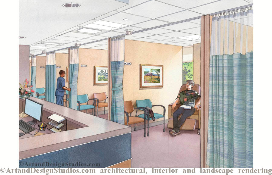 hospital rendering, architectural illustration, visualization