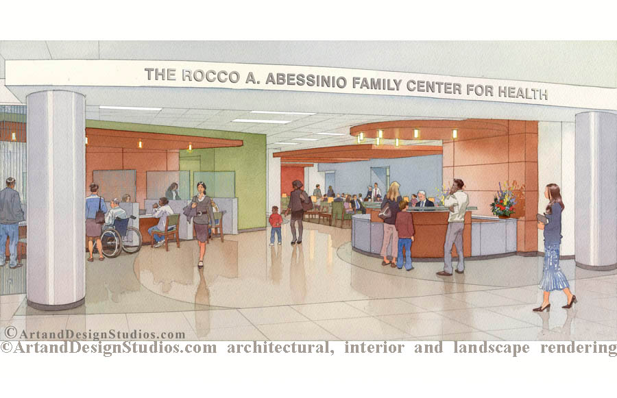 artistic rendering, hospital architectural illustration