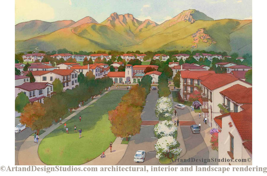 rendering, housing development rendering; sun belt development rendering; planned community rendering; senior living rendering; student housing rendering, California housing development rendering, university housing