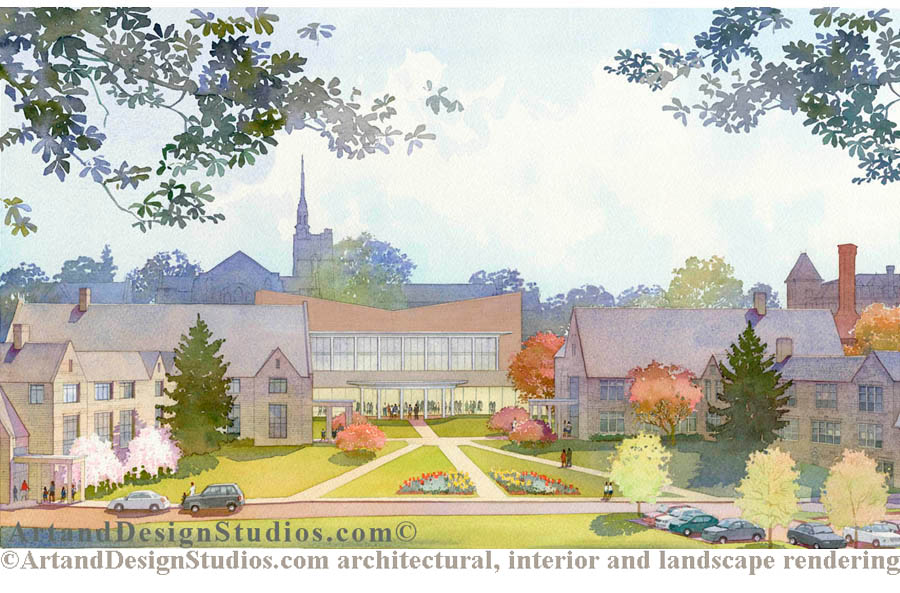independent school, boarding school campus rendering; school master plan rendering, architectural illustration, visualization