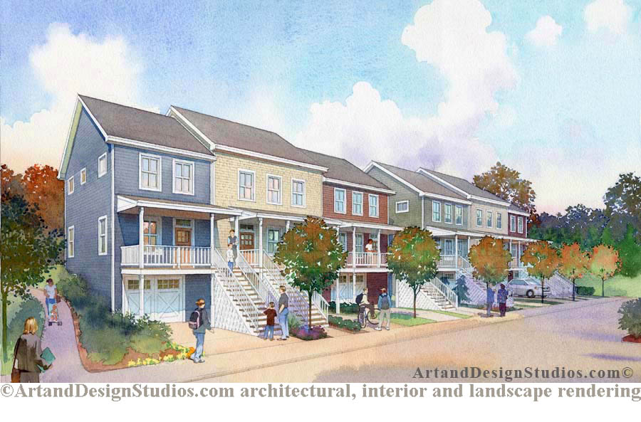 rendering, low-rise residential development architectural illustration, rendering; housing development rendering, architectural illustration, visualization