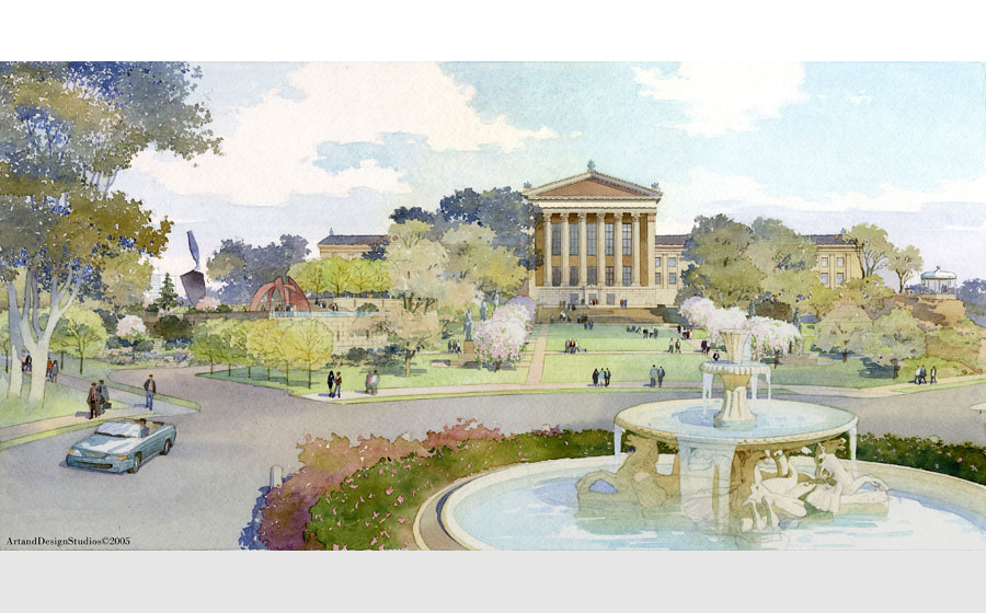 architectural illustration - Philadelphia Museum of Art undrground parking - architectural - rendering