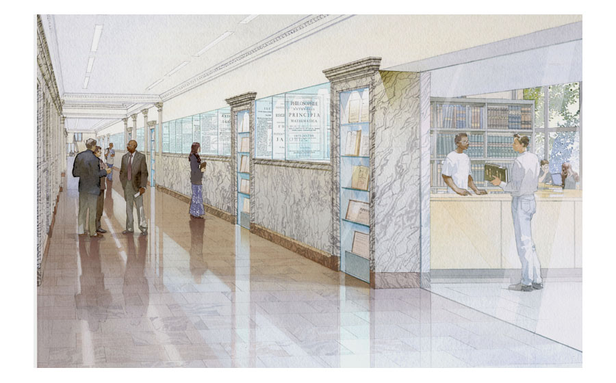 architectural illustration - UPENN library - architectural - rendering