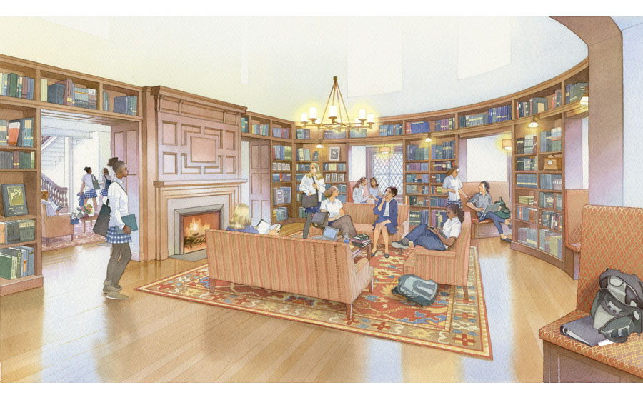 architectural illustration -Baldwyn School library at former Bryn Mawr Hotel by Frank Furness- architectural - rendering