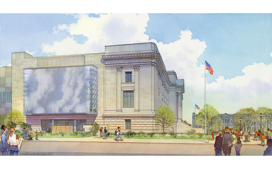 architectural illustration - The Franklin Institute - architectural - rendering