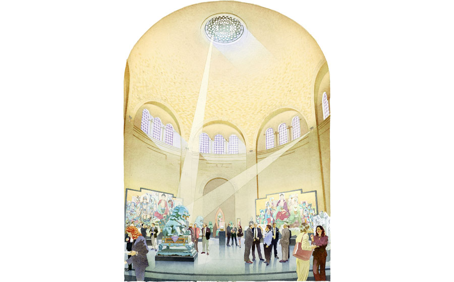 architectural illustration - Museum of Archaeology and Anthropology Rotunda - architectural - rendering