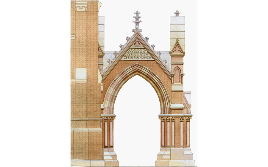 architectural illustration - church interior restauration - architectural - rendering