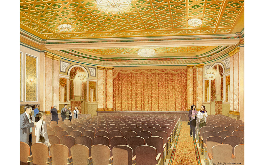 architectural illustration - Majestic Theater - architectural - rendering