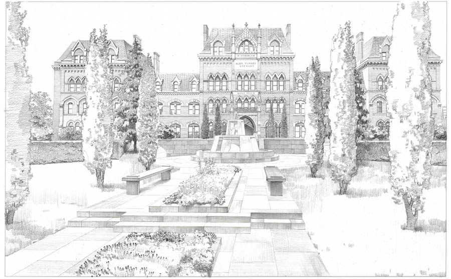 architectural sketch, garden rendering, landscape rendering drawing, architectural rendering, St.Paul's School, Garden City, Long Island, NY