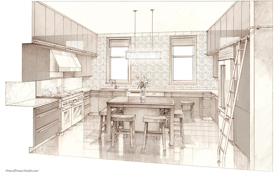 architectural sketch, kitchen rendering, hand digital rendering technique