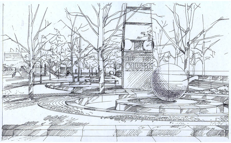 architectural sketch, landscape rendering, garden rendering, International Sculpture Garden