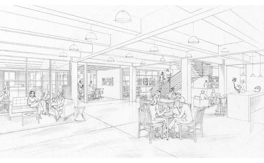 architectural sketch, office rendering, corporate interior hand rendering, NY