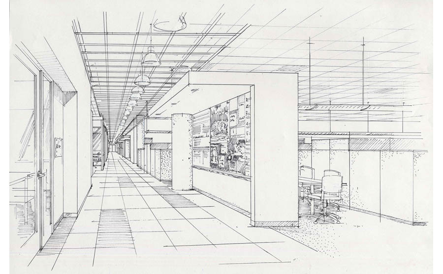 architectural sketch, office rendering, corporate interior hand rendering, PA