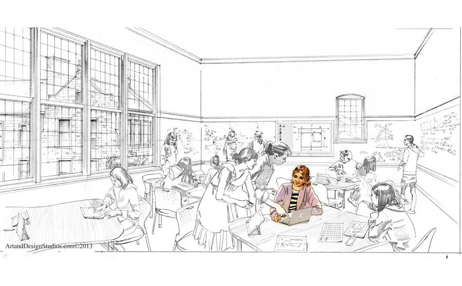 architectural sketch, private school campus rendering, classroom architectural rendering