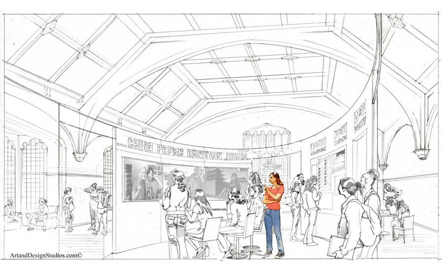 Classroom Design Sketch : Art and design studios rendering portfolio