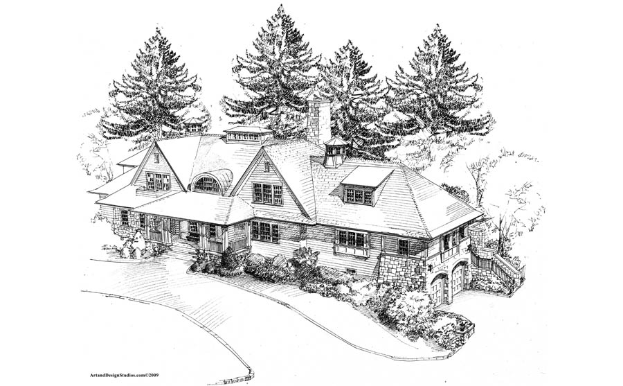 architectural sketch, house architectural rendering sketch
