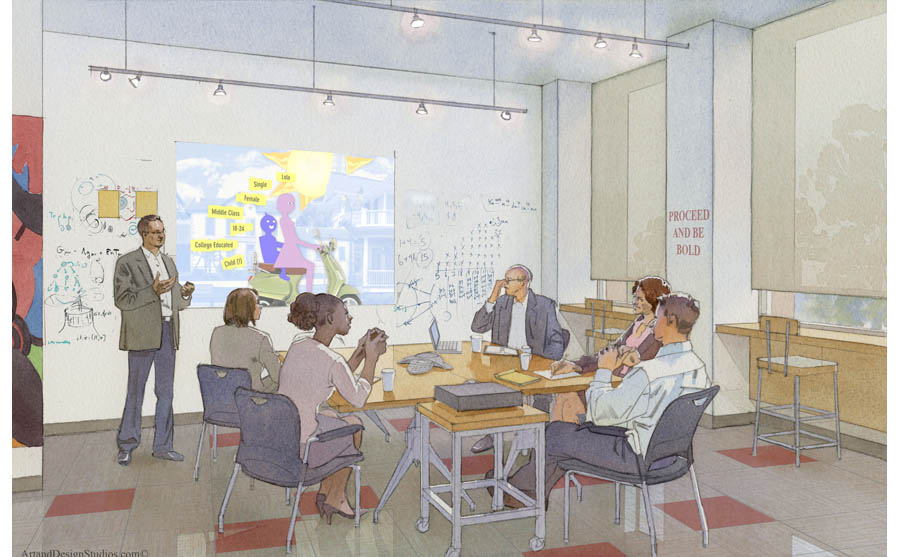 conference room rendering, office rendering, storyboard illustration, GA
