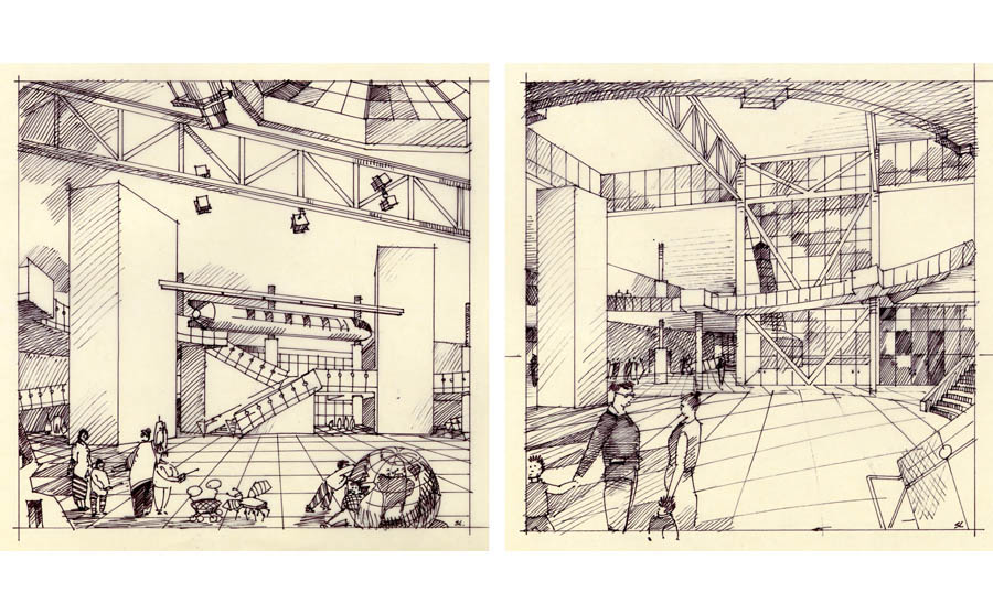 museum rendering, childrens museum interior rendering, storyboard illustration