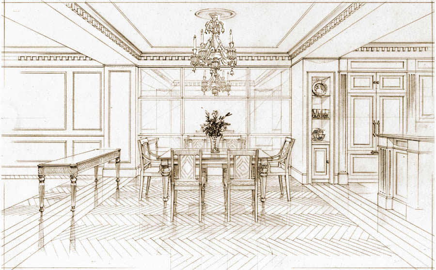 architectural rendering in pencil. Palazzo Las Vegas