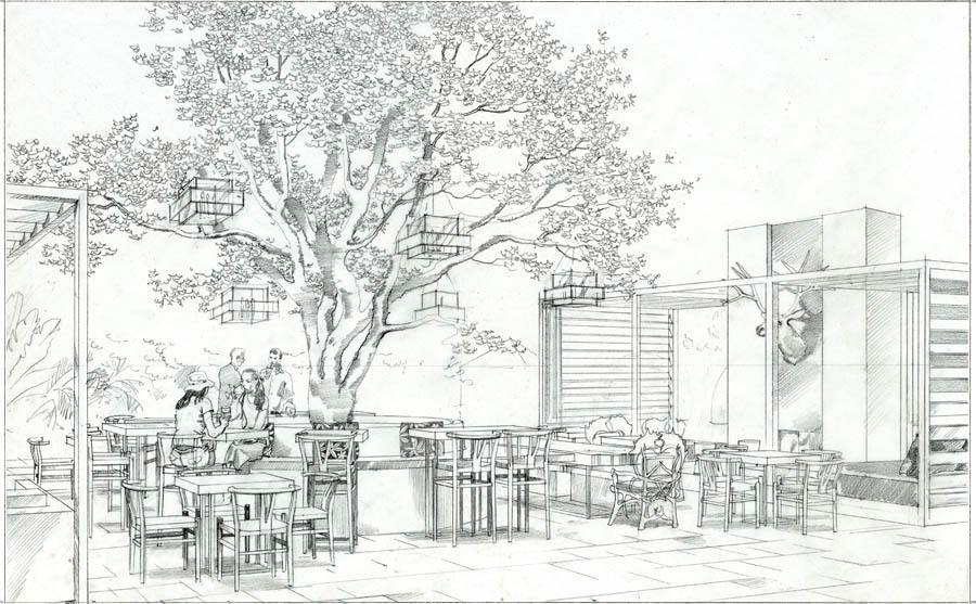 architectural rendering in pencil, restaurant in Los Angeles