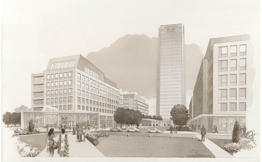 architectural sepia watercolor. Corporate campus with highrise in India
