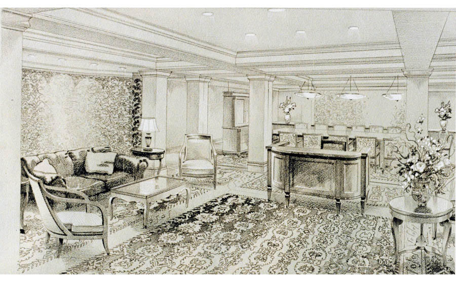 fine art drawing. Arden Group Corporate Headquarters Lobby