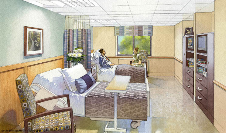 architectural illustration - patient room