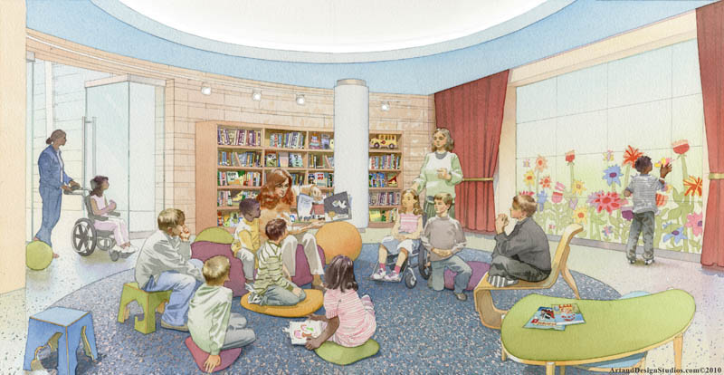 architectural illustration - Children's Hospital - reading room