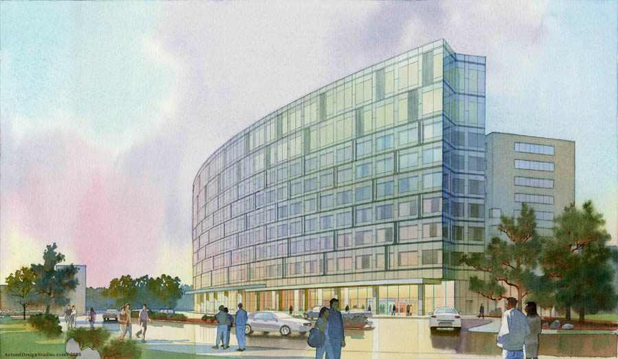 architectural illustration - Women's Hospital exterior - NY