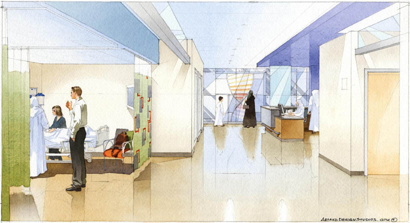 architectural illustration - Children's Hospital surgery