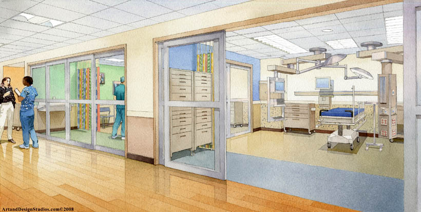 architectural illustration - operating room