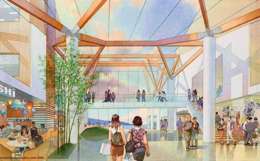 architectural illustration - Hospital atrium - Jeju, South Korea