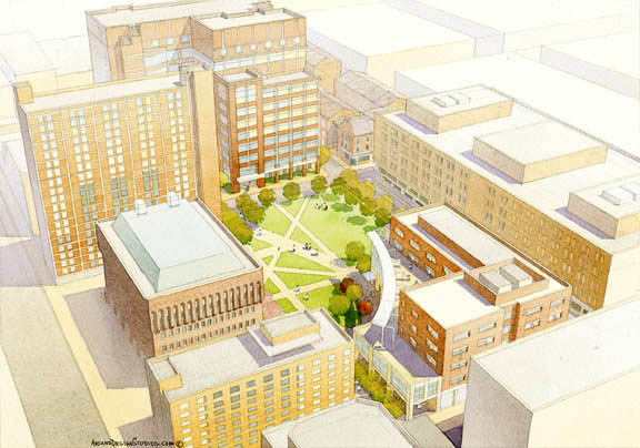 architectural illustration - University Hospital aerial