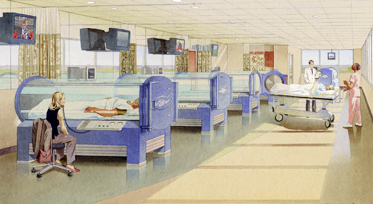 architectural illustration - Hyperbaric Chamber - Array Healtcare Solutions