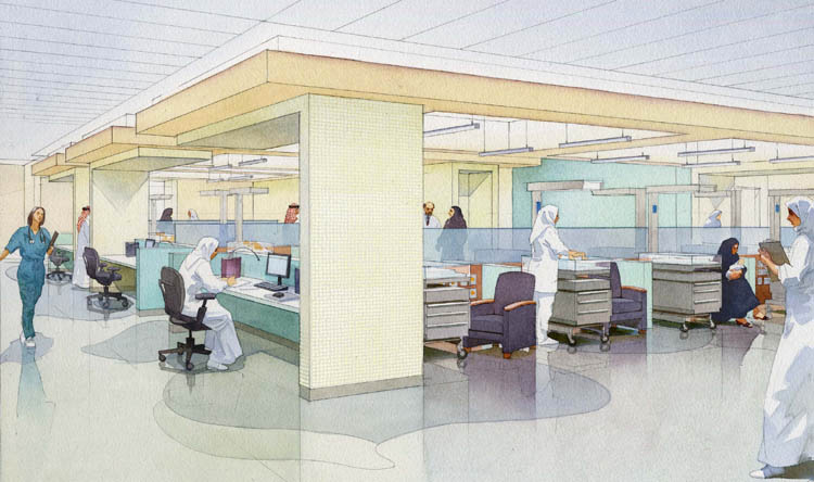 architectural illustration - Women's Hospital - NICU - Doha