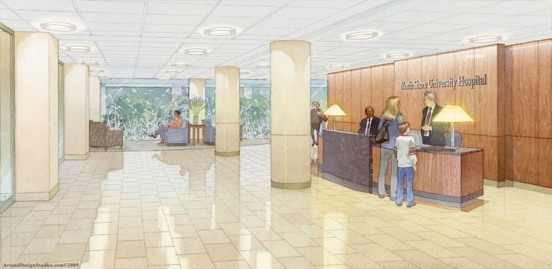 architectural illustration - University Hospital lobby