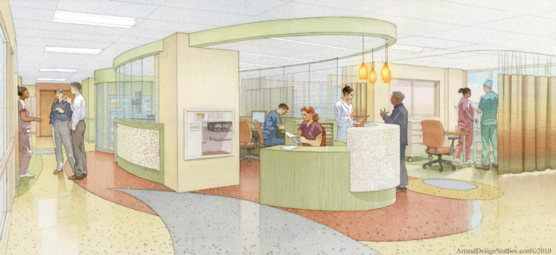 architectural illustration - healtcare - PICU