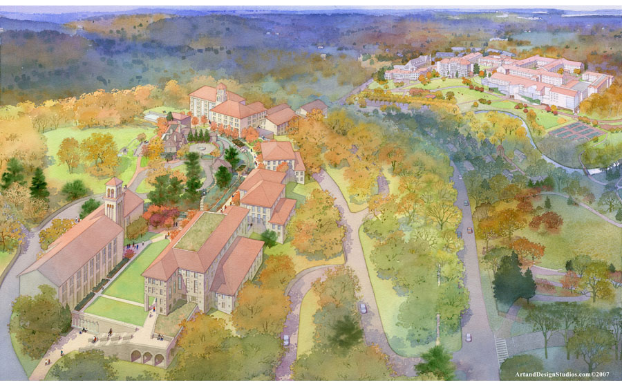 architectural illustration - Chesnut Hill College - architectural - rendering