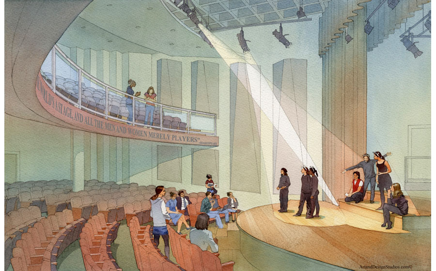 architectural illustration - church - architectural - rendering