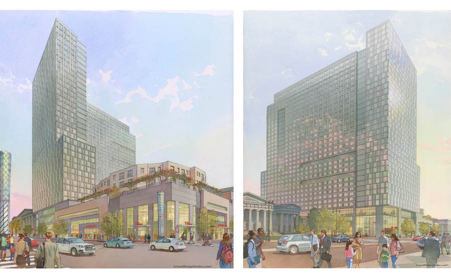 architectural hand rendering, illustration, visualisation in watercolor tecnique, high-rise mixed-use commercial/residential development at Broad St. and Washington Ave. Philadelphia