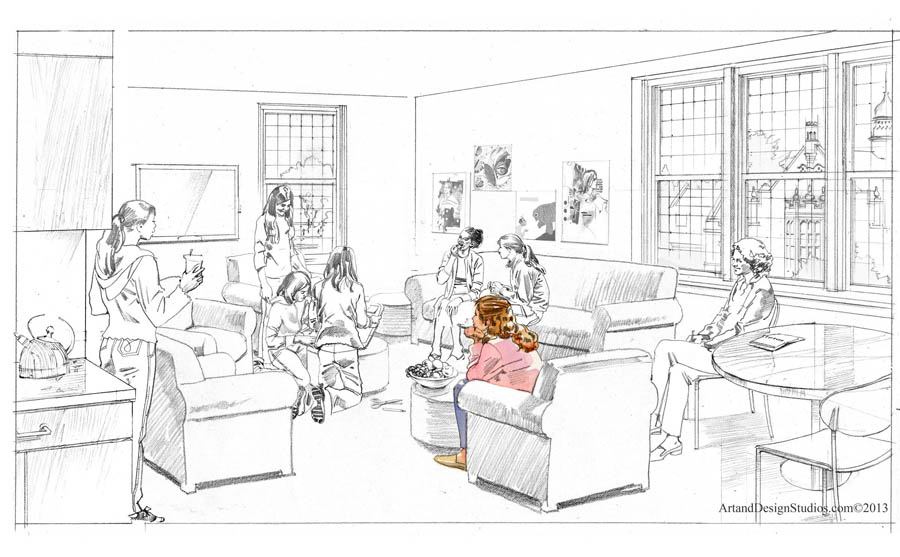 school rendering, student's lounge interior