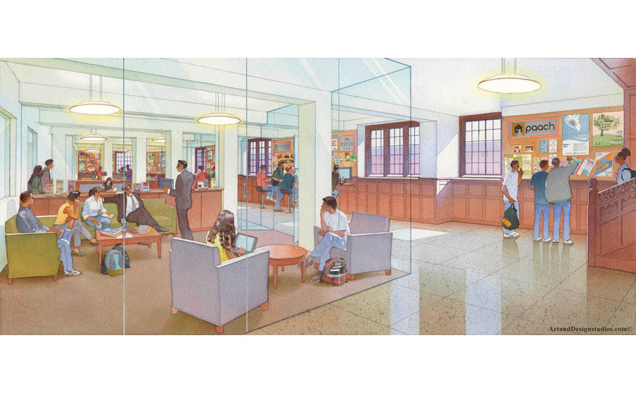 student cente rendering, student lounge visualization