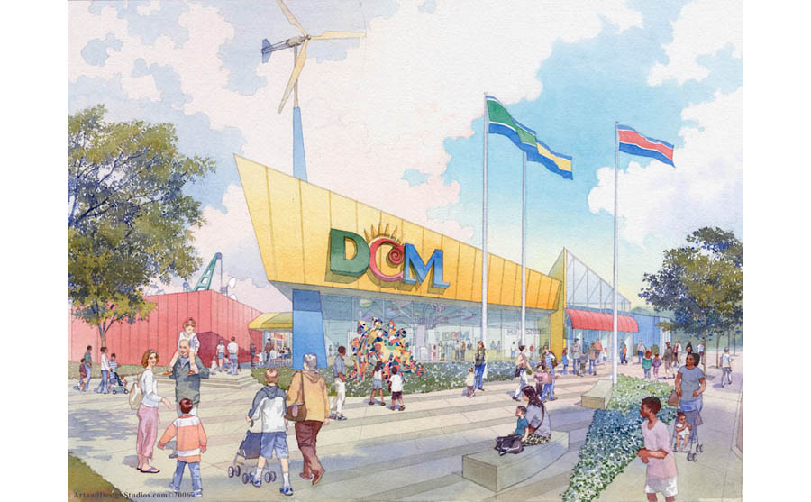 children's museum rendering in watercolor tecnique; early stage design development and fundraising rendering