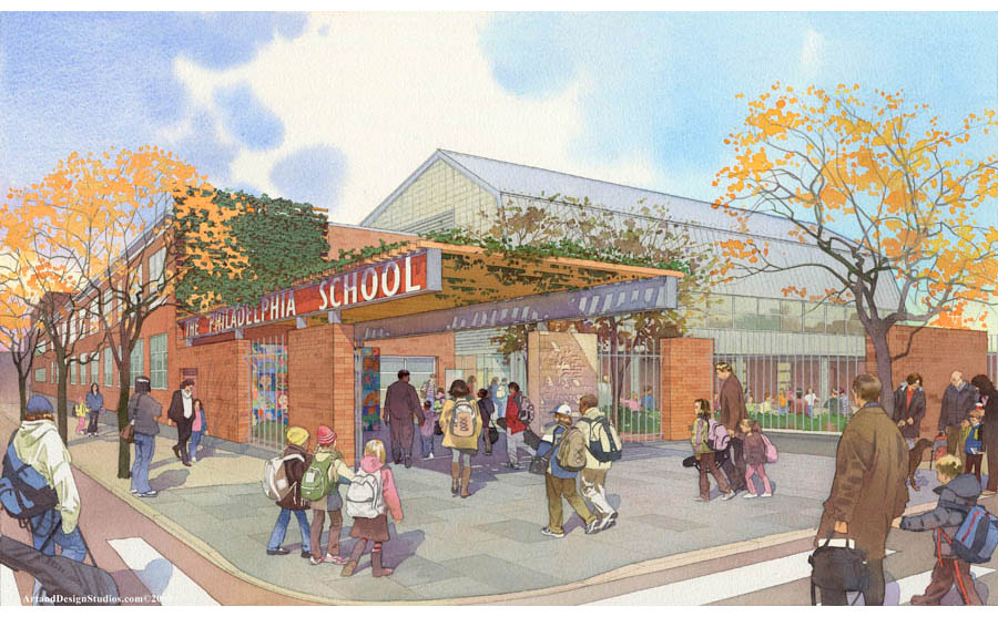 private school rendering in watercolor tecnique; early stage design development and fundraising rendering