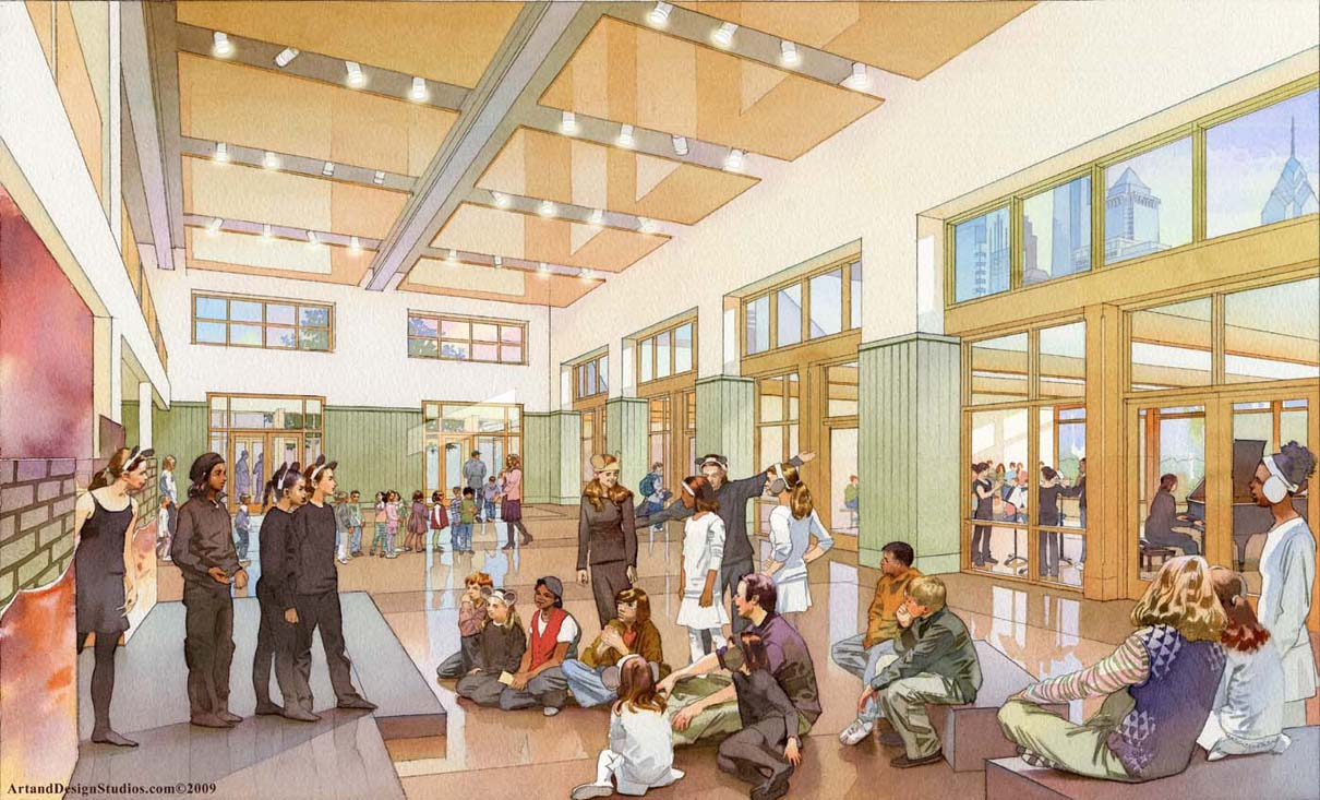 independent school multipurpose room rendering, architectural illustration