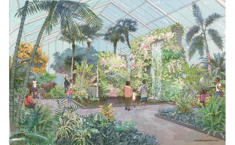 architectural hand rendering, illustration, visualisation in watercolor tecnique, Birmingham Botanical Gardens conservatory capital fundraising campaign, Alabama