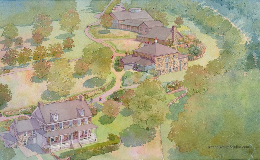 architectural hand rendering, illustration, visualisation for capital fundraising campagn in watercolor tecnique, Audubon Center, historic buildings and park