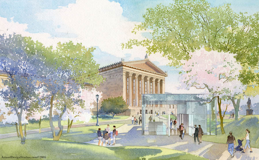 architectural illustration - Philadelphia  Museum of Art