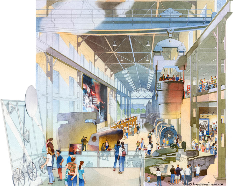 architectural illustration - Lucile Packard Children's Hospital - lobby