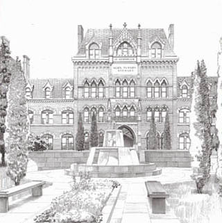 architectural illustration, in black and white, sketches, drawings, ink wash, sepia for interior designers, architects and landscape architects